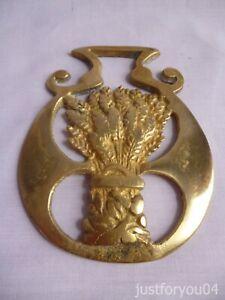 Solid Vintage Horse Brass -  Wheatsheaf Harvest Design