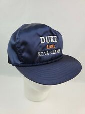 Vintage NCAA Duke Champs 1991 Satin blue zipper back hat adult size Otto brand