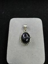 Sterling Silver Pendant with Large Purple Accent 7.8 Grams Marked 925