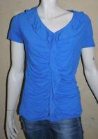 ARMAND THIERY Taille 42 Superbe haut top tee shirt manches courtes habillé bleu