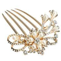 Rhinestones Pearls Bridal Wedding Party Hair Comb Headdress Clip Pin Decor, F3K3