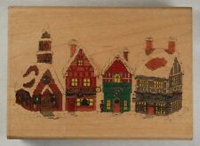 christmas wooden rubber ink stamp card craft hampton - winter town square