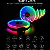 RGB LED Quiet Computer Case PC Cooling Fan 120mm with Control 1 Remote W6F6