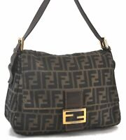 Auth FENDI Zucca Mamma Baguette Shoulder Hand Bag Canvas Leather Brown C3518