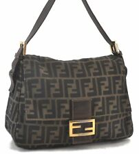 Auth FENDI Zucca Mamma Baguette Shoulder Hand Bag Canvas Leather Brown C3518