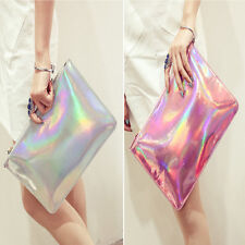 Holographic Laser Metallic Shine Messenger Handbag  Envelope Clutch Evening U6T