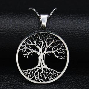 Damen Silber Halskette Edelstahl Lebensbaum Anhänger Silberkette Baum des Lebens