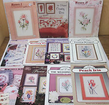 11 Cross Stitch Pattern Book Leaflet lot Flower Floral theme Samplers Borders ++