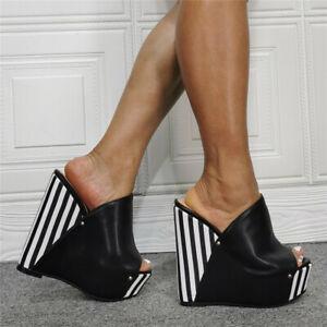 Women High Wedge Heel Sandals Mules Slip On Peep Toe Platform Shoes Slipper Sexy