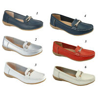 Womens Moccasins Real Leather Slip On Santa Cruz Ladies Loafers Shoes Sizes UK