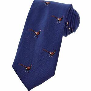 The Saville Row Company Navy Pheasant Silk Tie Neck