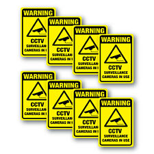 CCTV Warning Stickers 8 pack 70mm quality water and fade proof vinyl