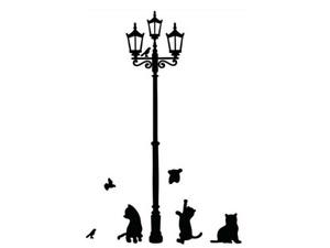 ADESIVI PER PARETE CASA CAMERETTA BAMBINI GATTI UCCELLI LAMPIONE WALL STICKERS