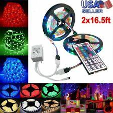 2 x 5m 3528 SMD RGB 600 LED Strip Light String Tape + 44 Key IR Remote Control