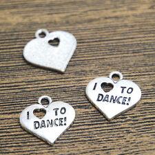 15pcs- Heart Charms Antique Tibetan Silver Tone I love to dance pendants 18x18mm