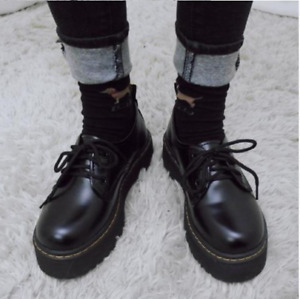 Women Retro Round Toe Flats Goth Punk Low Heels Oxfords Platform Vintage Shoes