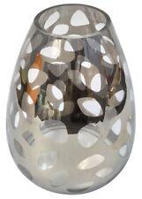 Grande Pecera Plata Florero de Cristal 28cm Alto 20cm Ancho Hoja Diseño Jarrón