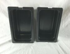 Sysco 1/4 Size Black Plastic Prep Table Pans Set of 2