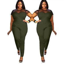 89b26c85806 Women Lady Playsuit Bodycon Short Sleeve Top Jumpsuit Romper Trousers Plus  Size