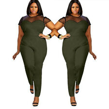 Plus Size Women Short Sleeve Bodycon Playsuit Trousers Clubwear Jumpsuit Romper