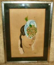 "Framed Original 1939 Woman's Fashion Art Signed ""Mag"""
