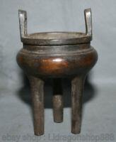 """Ancien palais chinois de bronze pourpre de 7 """",   de 3 pieds encensoir"""