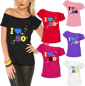 Womens I Love The 80s Printed T Shirt Ladies Short Sleeve Pop Star Party Top