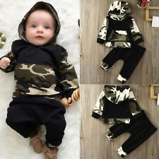 2PCS Toddler Newborn Baby Boy Camouflage Hooded Shirt Tops+Pants Outfits Clothes