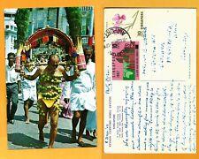 SINGAPORE VINTAGE POSTCARD- STAMPS 1967 KEVADA CARRYING HINU DEVOTEE-SINGAPORE..