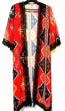 BNWOT Aztec Printed Kimono With Lace Trim