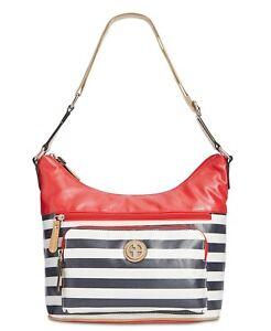 Giani Bernini Canvas Stripe Multicolor Small Hobo Red and Black Shoulder Bag