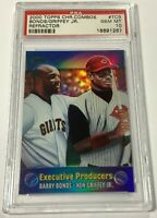 2000 TOPPS COMBOS KEN GRIFFEY JR BARRY BONDS #TC8 REFRACTOR PSA 10 GEM MINT (DR)