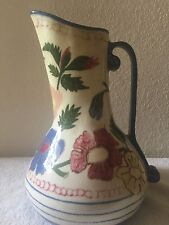 "Vintage Handpainted Ceramic 11"" Vase/Pitcher with Handle"