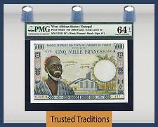 TT PK 704Km ND WEST AFRICAN STATES / SENEGAL 5000 FRANCS PMG 64 EPQ CHOICE UNC
