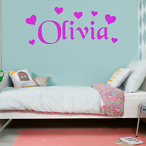 HEARTS Wall Sticker Personalised Name Girls Bedroom Vinyl Art Decal AD123