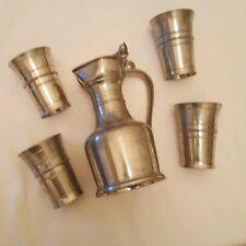 "JPJ GENEVE Pewter Metal Lidded Acorn Embellished 8"" Pitcher W 4 Drinking Cups"