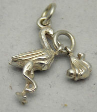 3D STERLING SILVER MOVING STORK & BABY CHARM