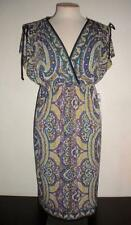 LONDON TIMES MS SIZE 10 GREEN MULTI-COLOR PAISLEY PRINT SPLIT SLEEVE SHIFT DRESS