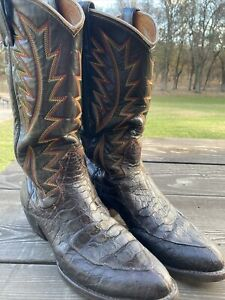 Nocona Vintage Crocodile Belly Brown Leather Boots Size 8B