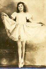 vintage historical costume  ballet dancing real photo Girl Child in toe shoes