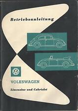 VW   KÄFER    CABRIOLET  LIMOUSINE   1962    Betriebsanleitung    Handbuch   BA