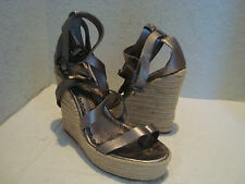 New Juicy Couture Womens Giana Metallic Silver Wedge Sandals Shoes 10 Medium