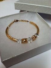 Womens Fashion Jewerly Gold Bracelet Bangle Swarovski Crystal April Birthstone