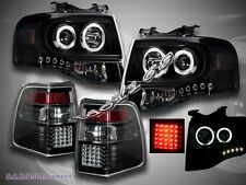 2007-2011 FORD EXPEDITION 2 HALO CCFL LED PROJECTOR HEADLIGHTS + LED TAIL LIGHTS