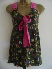 BNWT NEXT Pink Green Floral Print Bow Front Strappy Top Size 10