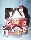 Porcelain Christmas Village Houses - Lighted Country House with Porch