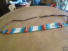 Vintage Omaha Nation Tribal Beaded Leather Neckband Blue Cream Salmon Dead Pawn