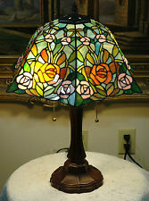 """16""""W Roses Stained Glass Handcrafted Table Desk Lamp, Zinc Base!"""
