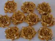 12 GOLD effect  cake cupcake topper edible sugar paste  ROSE flower (3cm)