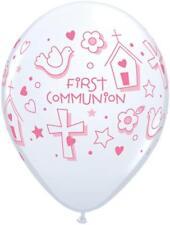 "First Communion Symbols Girl Qualatex 11"" Latex Balloons x 5"